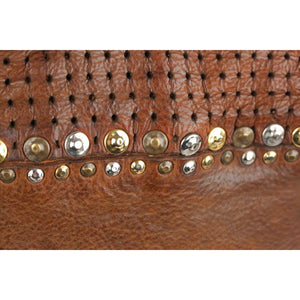 Brown Leather Boston Bag With Studs Opherty & Ciocci