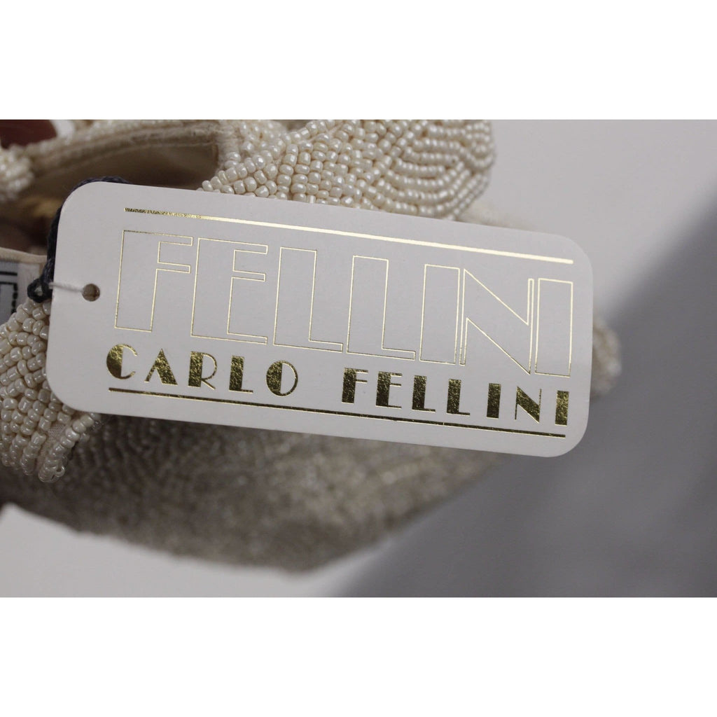 Carlo Fellini Vintage Ivory Beaded Handbag Small Purse Evening Bag Opherty & Ciocci
