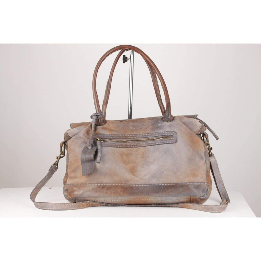 Antiquated Leather Canvas Top Handle Satchel Bag Opherty & Ciocci