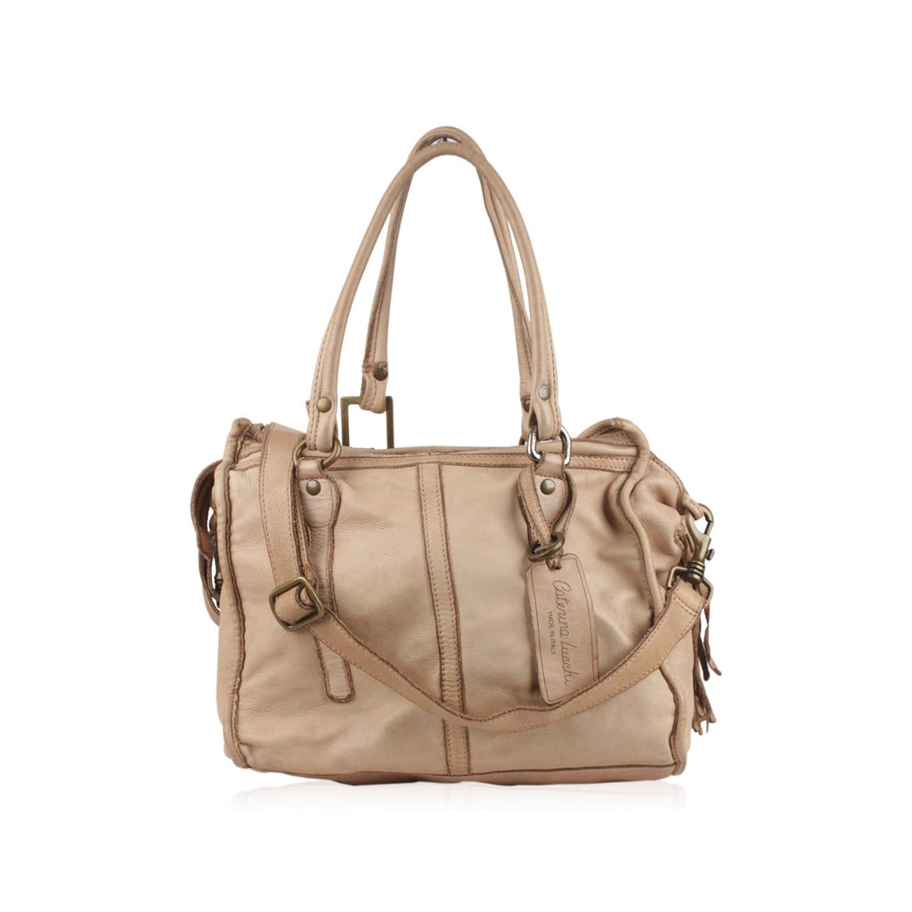 Beige Leather Tote Handbag Top Handle Opherty & Ciocci