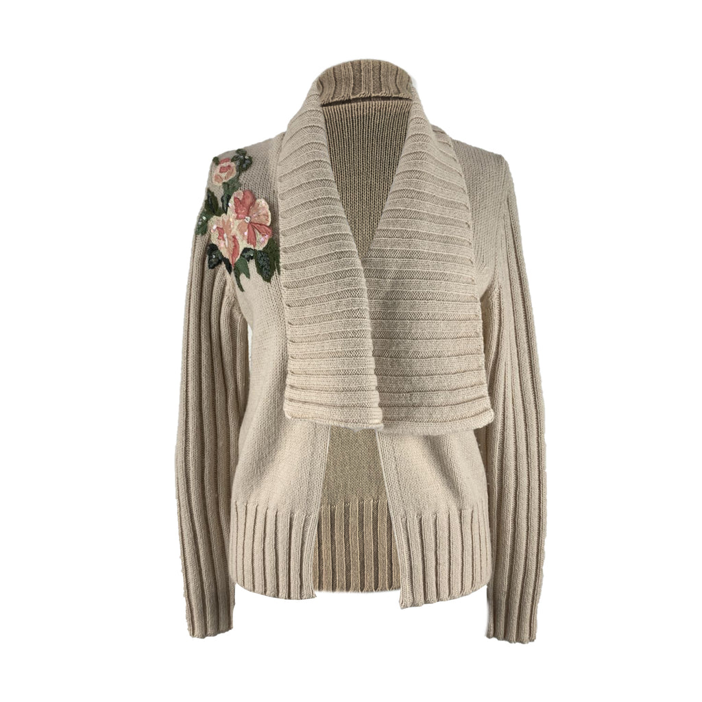 Blumarine Blugirl Wool Blend Cardigan with Floral Applique Size 46 IT