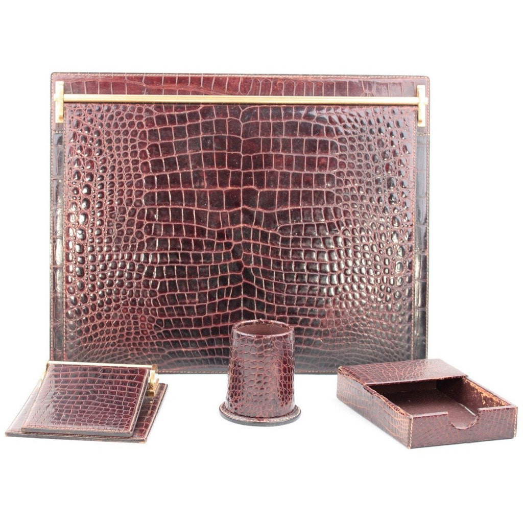GUCCI Vintage Brown Crocodile Skin 4 PIECES DESK SET Blotter Notepad Pen Cup