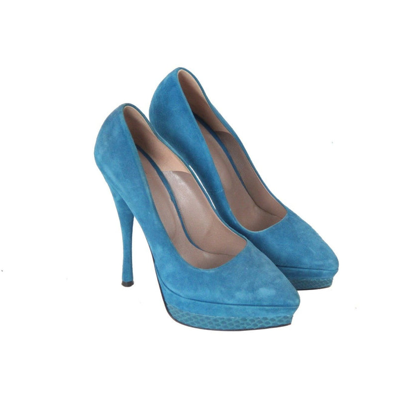 Versace Turquoise Suede Pointed-Toe Platform Pumps Heels Size 35