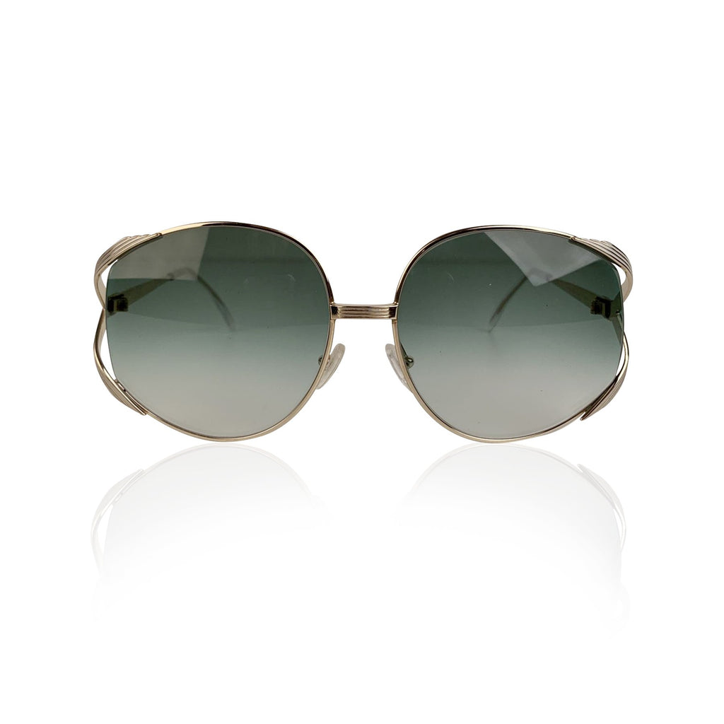 Christian Dior Vintage Gold Metal Sunglasses Mod 2387 Green Lenses - OPHERTY & CIOCCI