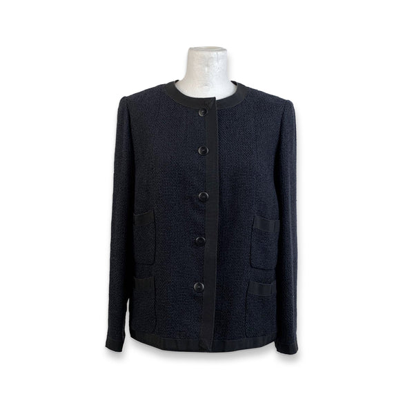 Chanel Navy Blue Bouclé Round Neck Blazer Jacket