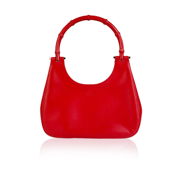 Gucci Red Leather Hobo Bag with Bambbo Handle