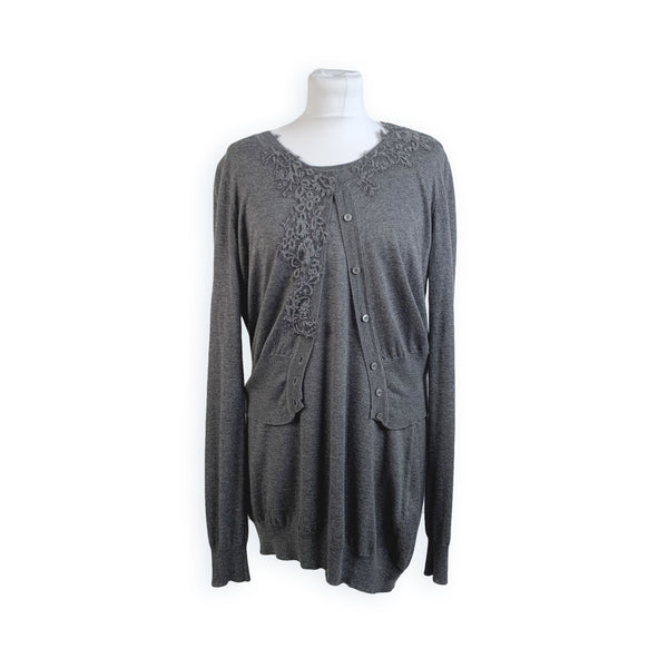 Scervino Street Gray Wool Blend Twin Set Cardigan and Top Size 46
