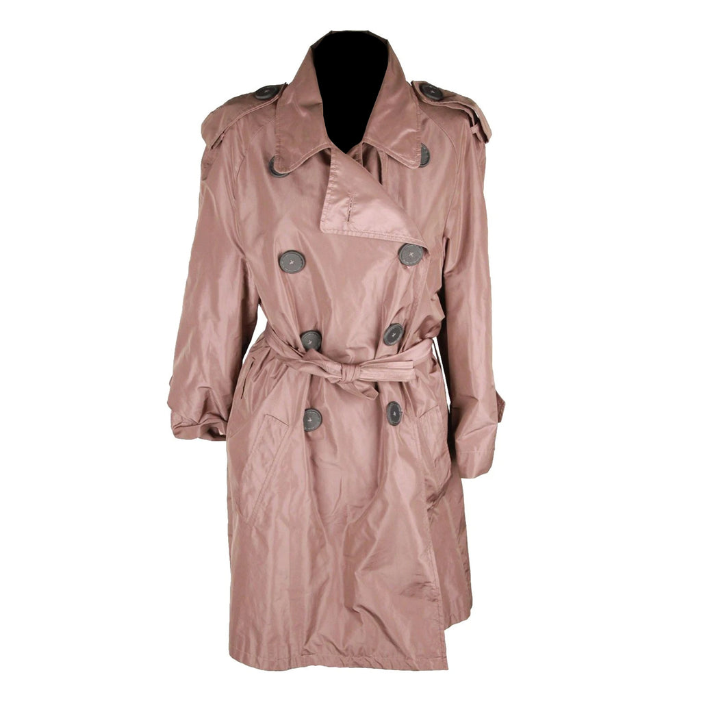 Rue Du Mail Taupe Poly Fabric Trench Coat Double Breasted Size 36 FR