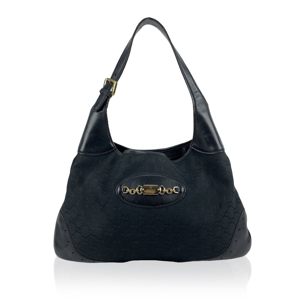 Gucci Black Monogram Canvas Leather Punch Jackie Bouvier Hobo Bag
