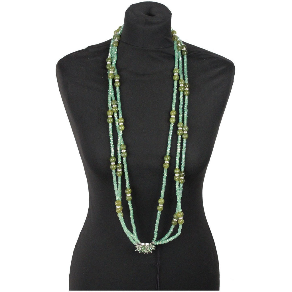 Vintage Aqua Green Crystals Beads 3 Strands Long Necklace Multistrand
