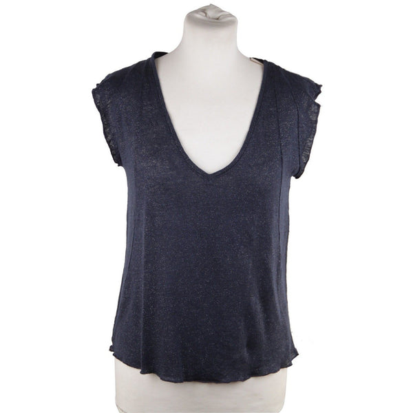 Maje Blue Linen Knit Cap Sleeve Top Metallic Effect Size 2