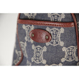 CELINE Blue Macadam Denim & Brown Leather BOOGIE TOTE