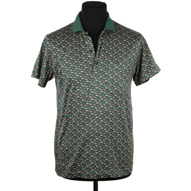 CELINE HOMME Green Flags Pattern POLO SHIRT Short Sleeve SIZE S