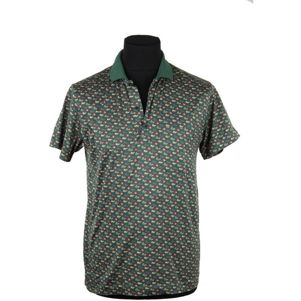 ZZ_CELINE HOMME Green Flags Pattern POLO SHIRT Short Sleeve SIZE S AS - OPHERTYCIOCCI