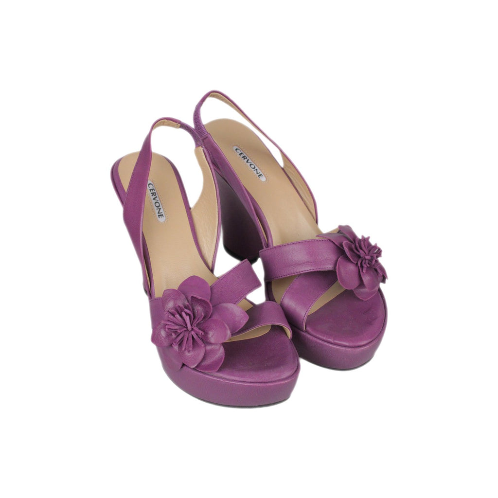 CERVONE Purple Leather WEDGES SANDALS Shoes with Flower SIZE 37