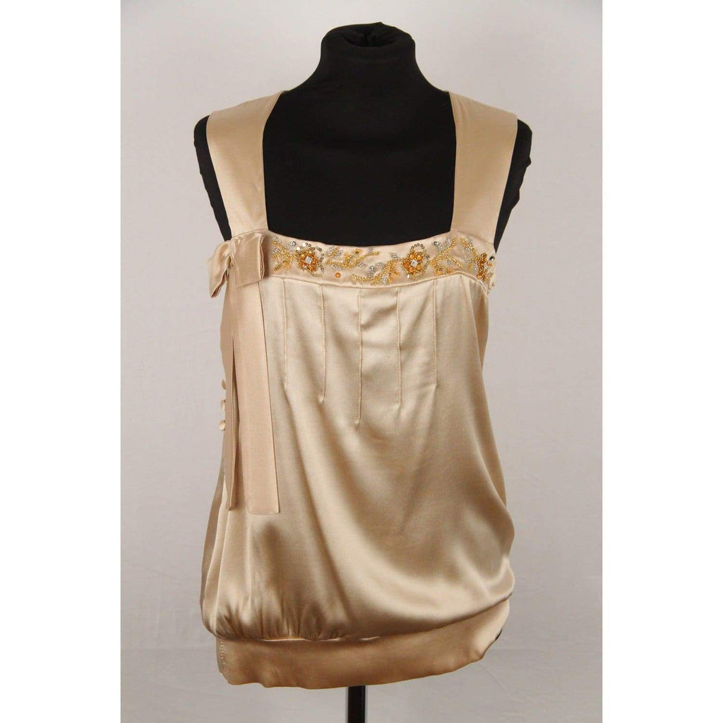 Cesare Guidetti Beige Silk Embellished Sleeveless Top Size 42 Opherty & Ciocci