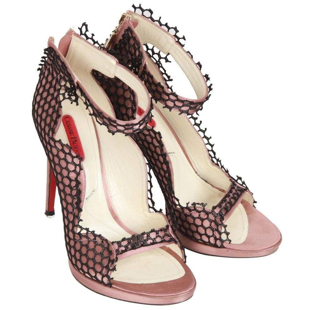 Cesare Paciotti Pink Satin Heeled Sandals W/ Black Net Size 40 Opherty & Ciocci