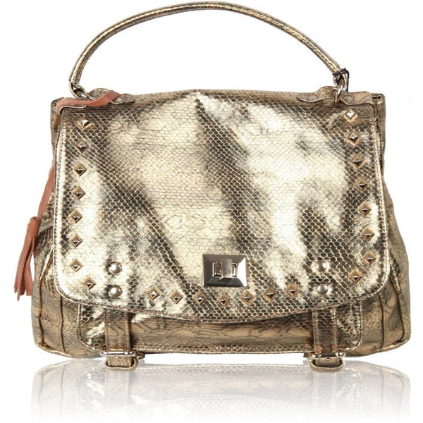 MARKS & ANGELS Metallic Gold SNAKE Print LUCY BAG w/STUDS