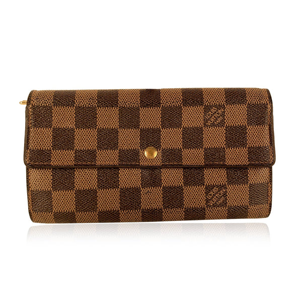 Louis Vuitton Damier Ebene Canvas Long Sarah Clutch Wallet