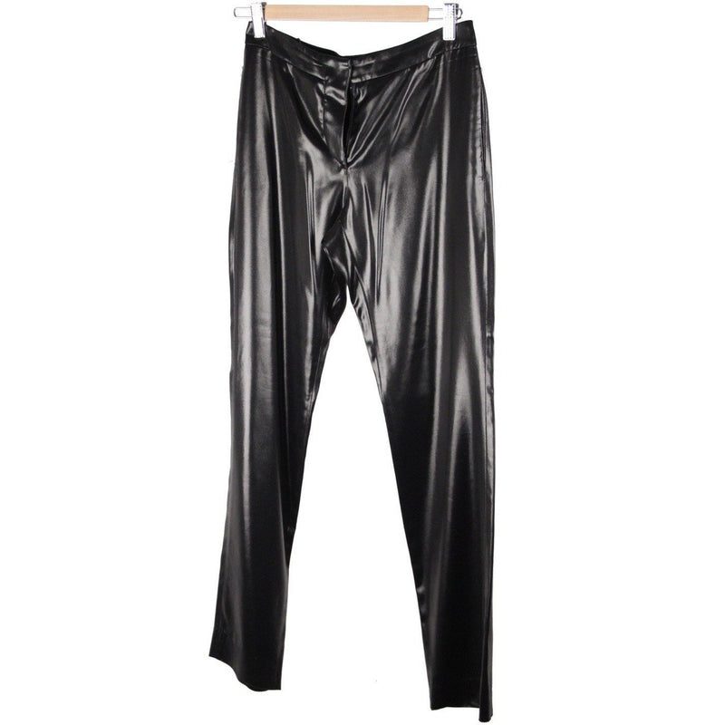 CHANEL Black Acetate WET LOOK PANTS Trousers SIZE 34