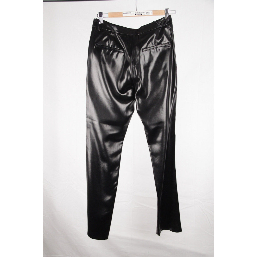 CHANEL Black Acetate WET LOOK PANTS Trousers SIZE 34 - OPHERTYCIOCCI