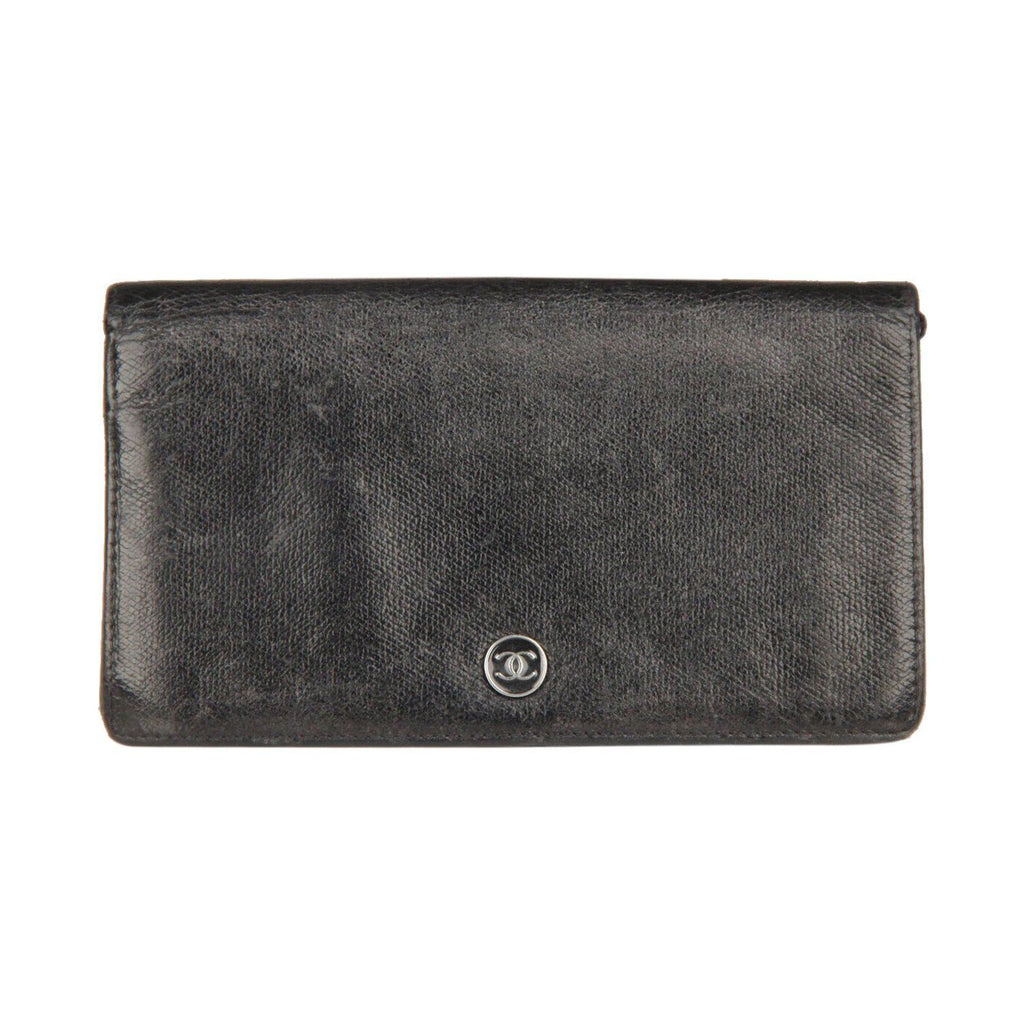 Chanel Black Leather Long Continental Bifold Wallet Opherty & Ciocci