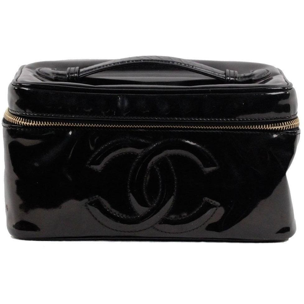 Chanel Black Patent Leather Cosmetic Bag Vanity Case Handbag Purse Opherty & Ciocci