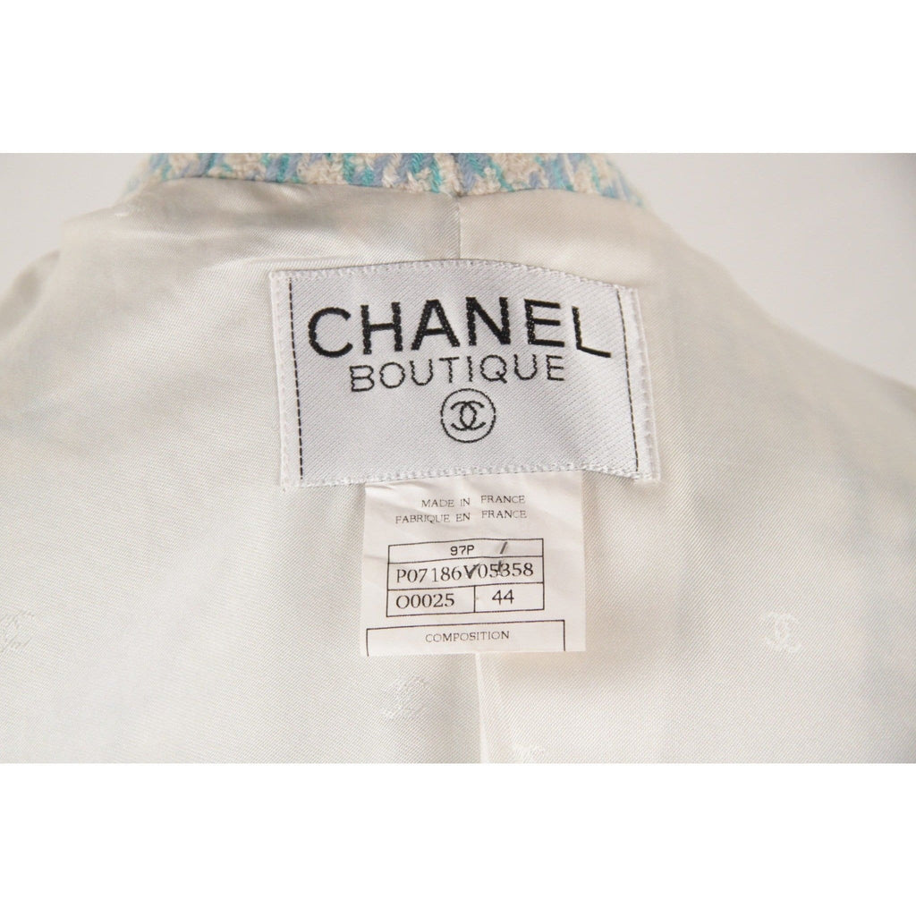Chanel Boutique Blue Tweed Suit Collarless Jacket And Skirt Size 44 Opherty & Ciocci