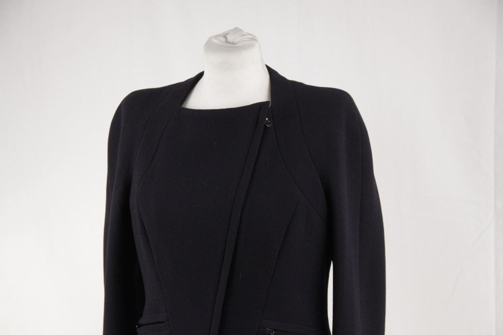 Chanel Boutique Navy Blue Wool Cropped Zip Up Jacket Size 42 Opherty & Ciocci