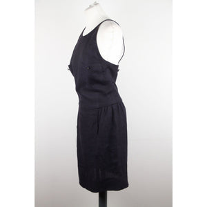 CHANEL BOUTIQUE Vintage Blue Linen SLEEVELESS DRESS SZ 40