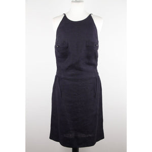 ZZ_CHANEL BOUTIQUE Vintage Blue Linen SLEEVELESS DRESS SZ 40 ST - OPHERTYCIOCCI