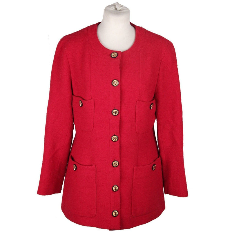 CHANEL BOUTIQUE Vintage Red Collarless BLAZER Jacket
