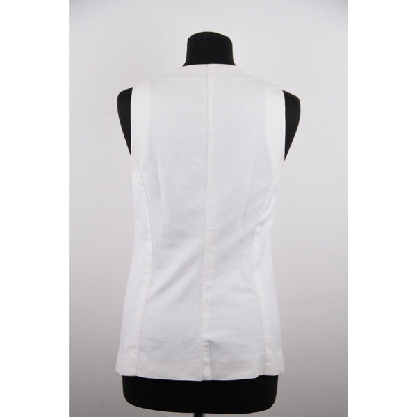 CHANEL BOUTIQUE White DOUBLE BREASTED VEST Waistcoat w/ CC LOGO Buttons