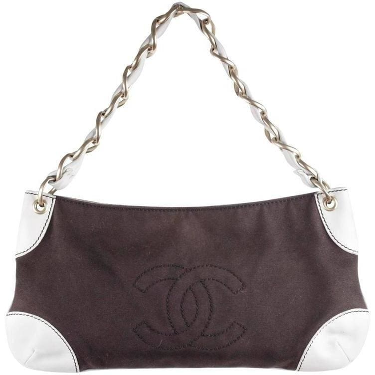 Chanel Brown Canvas & White Leather Shoulder Bag Purse Tote W/ Cc Logo Opherty & Ciocci