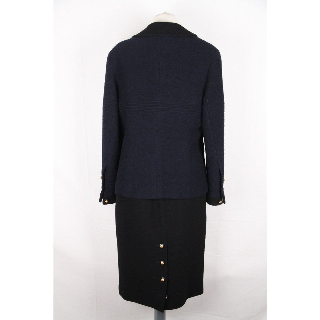 Chanel Vintage 1993 Blue Wool Blend Skirt Suit Size 42 Fr Opherty & Ciocci