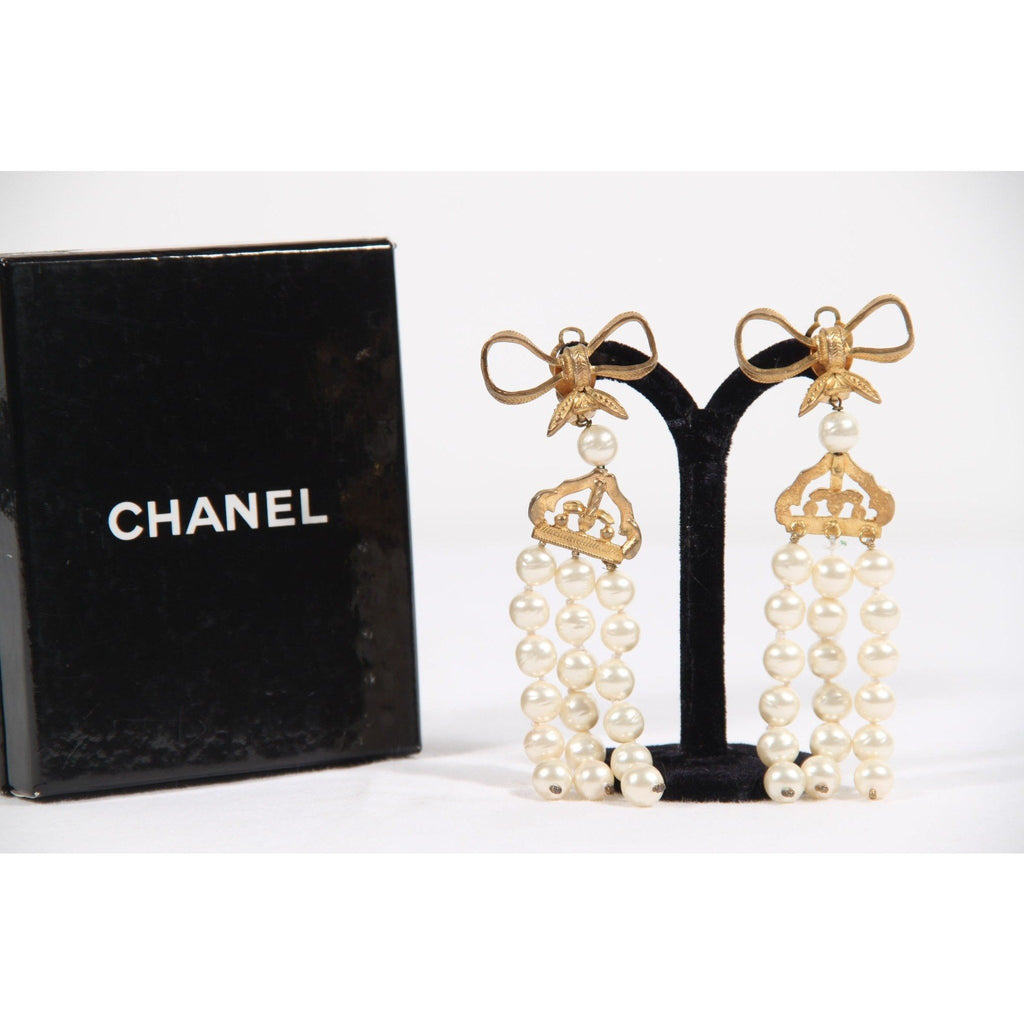 CHANEL Vintage 3 Strands FAUX PEARL STRING EARRINGS Bow Detail w/ BOX