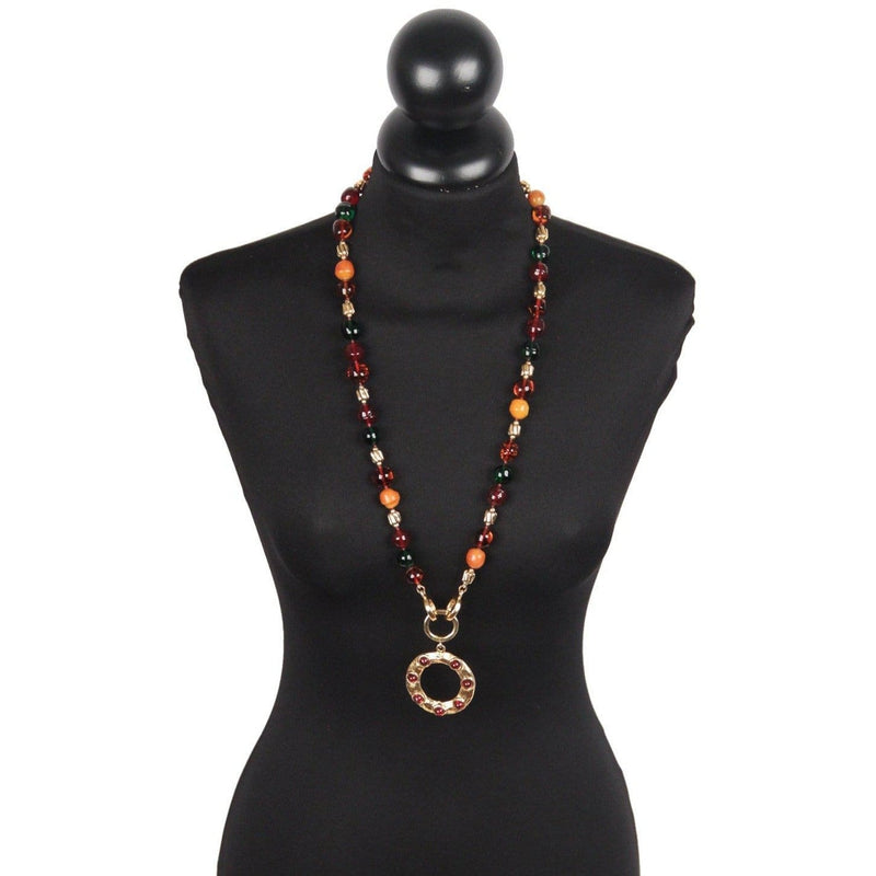 Chanel Vintage 70S Gold Metal & Glass Beads Long Necklace W/ Dangling Ring Opherty & Ciocci