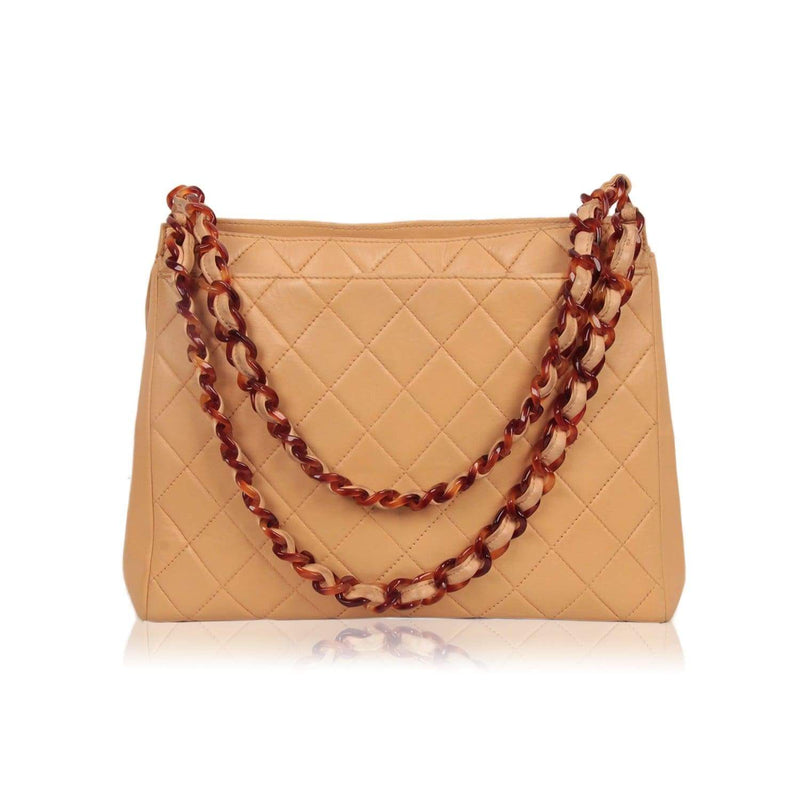 Vintage Beige Quilted Tote Leather Shoulder Bag Lucite Chain Opherty & Ciocci
