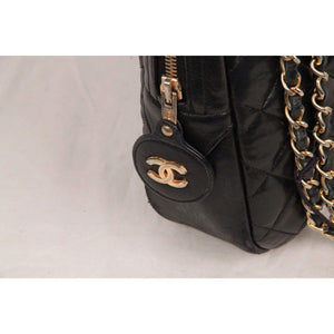 Chanel Vintage Black Quilted Leather Large Camera Bag Opherty & Ciocci