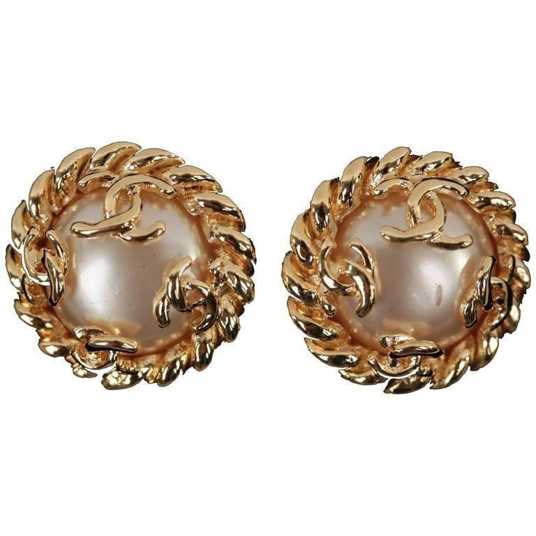 Chanel Vintage Gold Metal and Faux Pearls Clip On Earrings