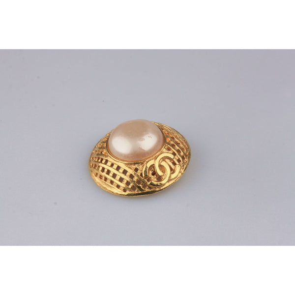 CHANEL Vintage Gold Metal and Faux Pearls GRID Clip On EARRINGS