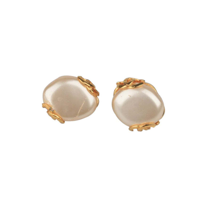 CHANEL Vintage Gold Metal Cabochon Pearl Clip On EARRINGS CC Logos