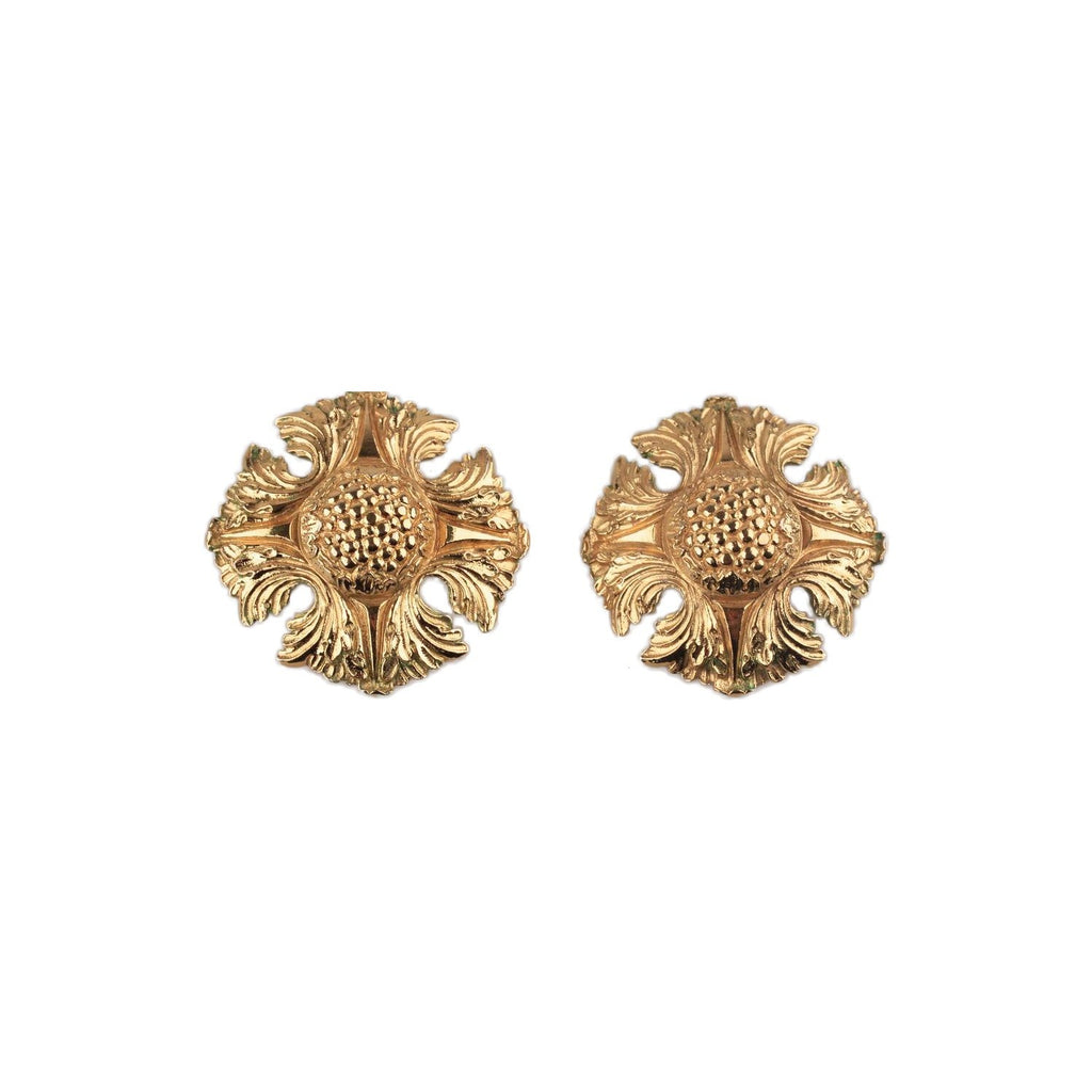 CHANEL Vintage Gold Metal Clip On EARRINGS