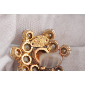 Chanel Vintage Gold Metal Rhinestones Clip On EARRINGS
