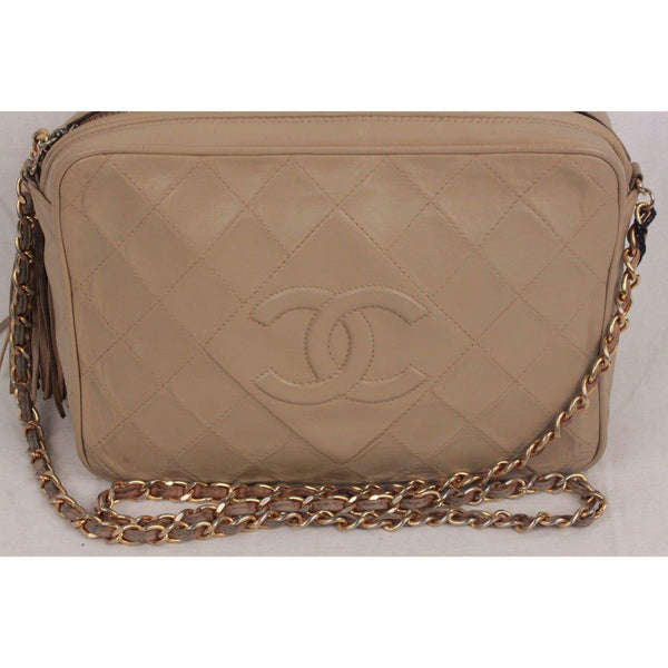 Vintage Taupe Quilted Leather Camera Bag With Tassel Opherty & Ciocci