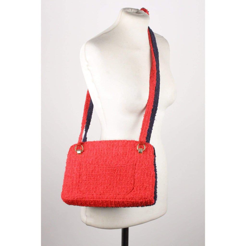 Chanel Vintage Unique Prototype Red Blue Wool Tweed Shoulder Bag Opherty & Ciocci