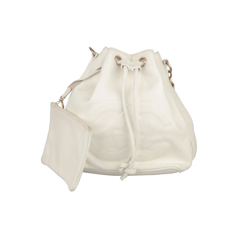 Chanel Vintage White Leather Drawstring Bag With Cc Logo Opherty & Ciocci