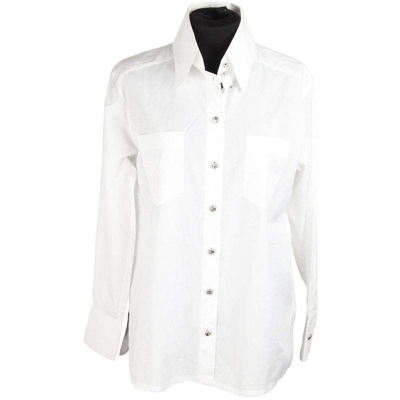 CHANEL White Cotton BUTTON DOWN SHIRT w/ Patch Pockets SIZE 34