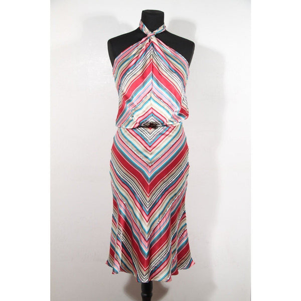 Chloe Multicolor Striped Silk Halterneck Dress Size 36 Fr Opherty & Ciocci