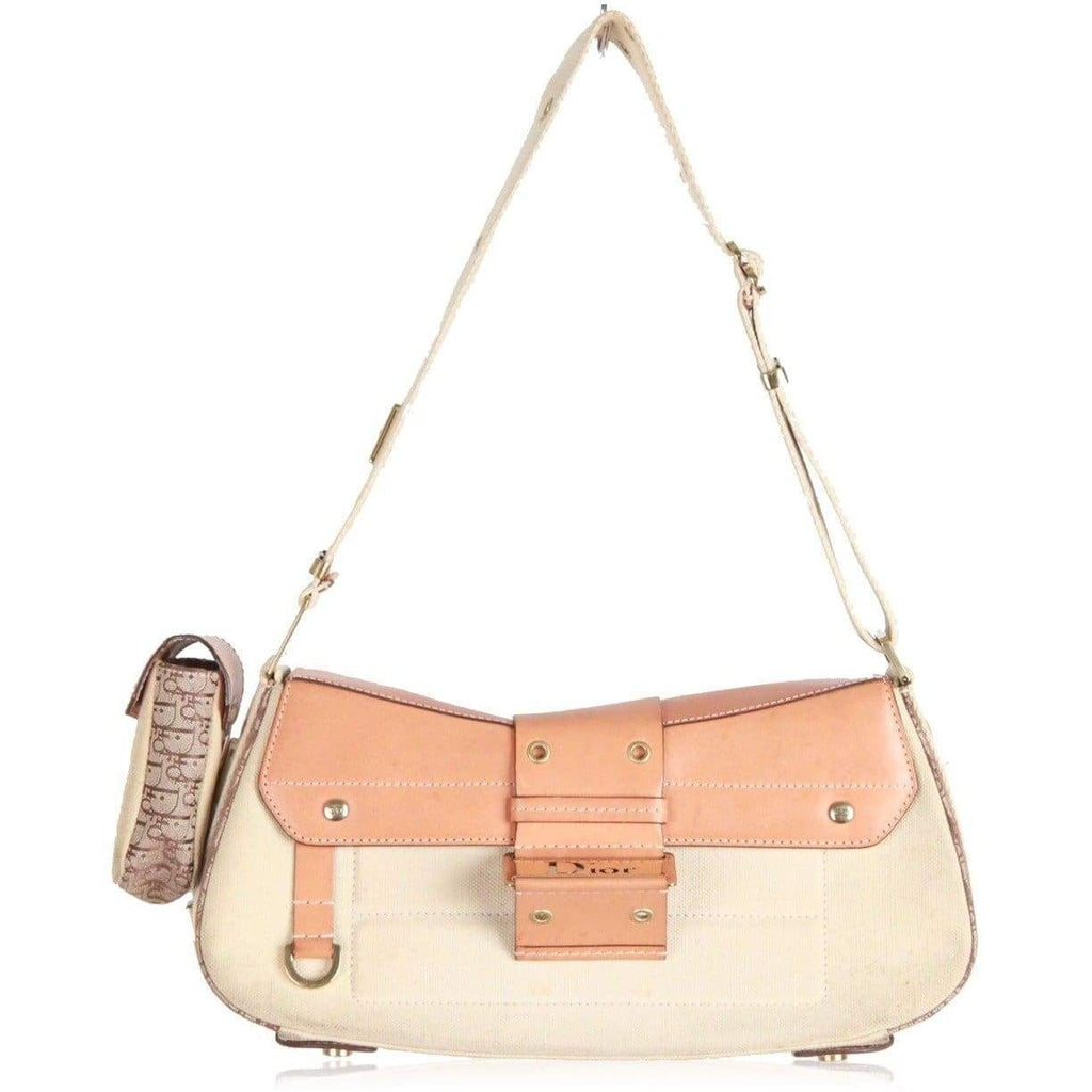 Christian Dior Beige Street Chic Columbus Ave Shoulder Bag With Belt Opherty & Ciocci
